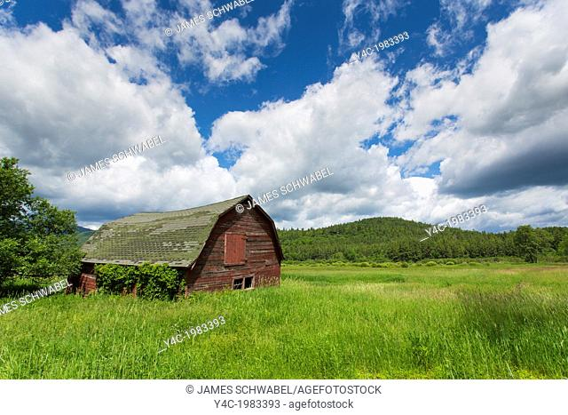 Old barn in the Keene Valley of the Adirondack State Park in New York State