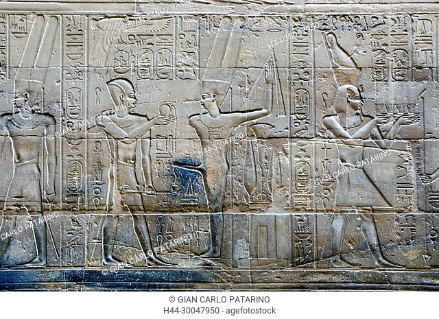 Luxor, Egypt. Temple of Luxor (Ipet resyt): the pharaoh offers to god Min Amon