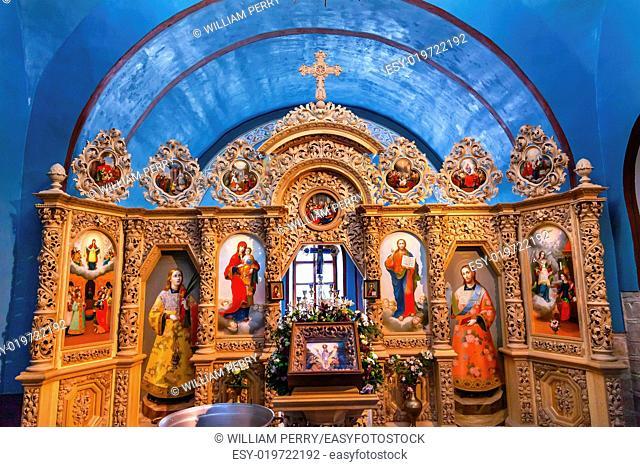 Ancient Mosaics Golden Screen Icons Dome Basilica Mikhaylovsky Church Vydubytsky Monastery Kiev Ukraine. Saint Michael's is the oldest functioning Orthordox...