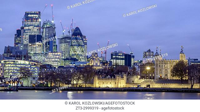 Tower of London and The City at twilight, London, England, United Kingdom