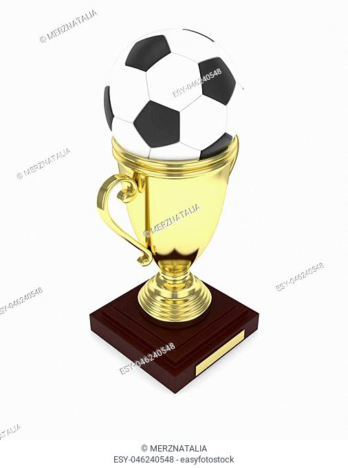 Golden cup and ball on white background. 3D rendering