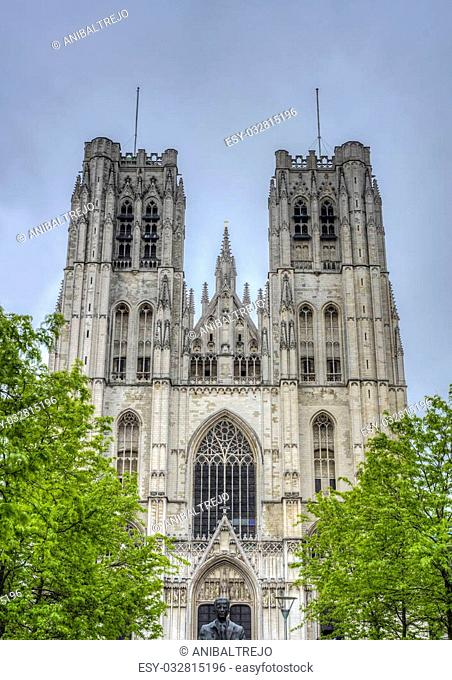 The Co-Cathedrale collegiale des Ss-Michel (Cathedral of St. Michael and St. Gudula), a Roman Catholic church at the Treurenberg Hill in Brussels, Belgium