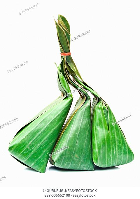 Thai dessert packages made from banana leaves