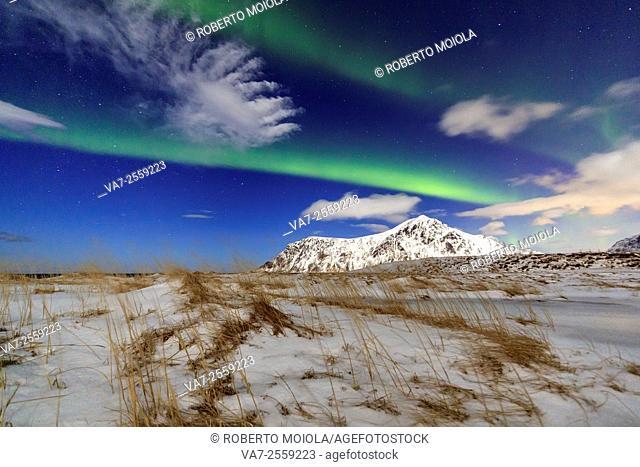 Northern Lights on Skagsanden sky. Lofoten Islands Northern Norway Europe