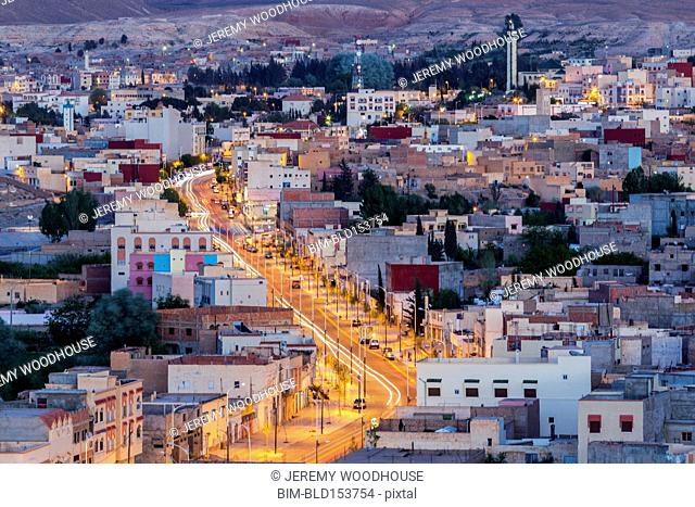 Aerial view of Midelt cityscape at night, Morocco