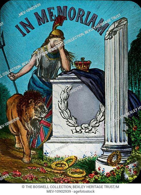 Coloured lantern slide of a mourning Britannia with her lion at her side. Slide number 6 of Box 195 entitled 'Curtains & Flags'