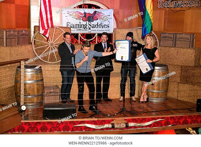 Celebrities attend West Hollywood honoring Flaming Saddles with Proclamation Grand Opening of City's First Country-Western Saloon at Flaming Saddles in West...