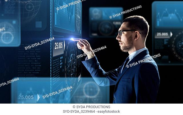 businessman working with charts on virtual screen
