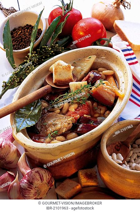 Classic cassoulet from Gascony, hearty stew, France