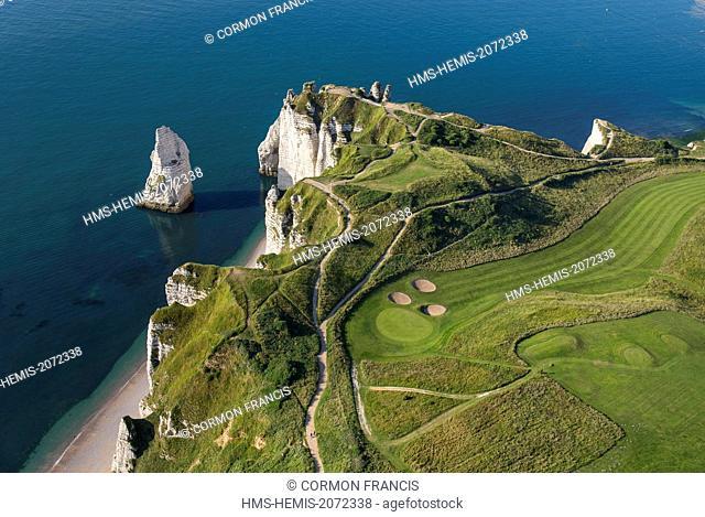 France, Seine Maritime, Etretat, Cote d'Abatre, the needle (aerial view)