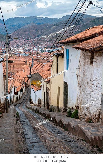 Steep street in Cusco, Peru, South America
