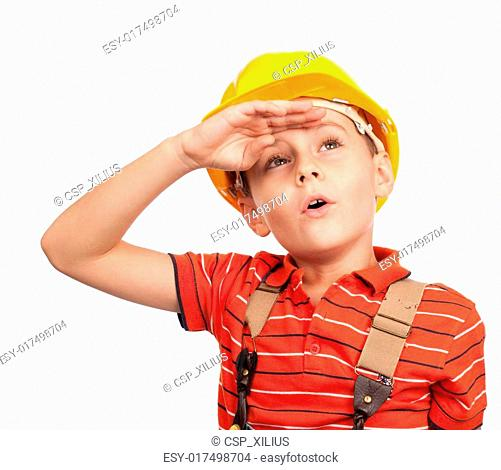 Tired little construction worker