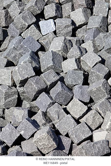 Pile of cobblestones, used for paving streets. Location Oulu Finland Scandinavia Europe