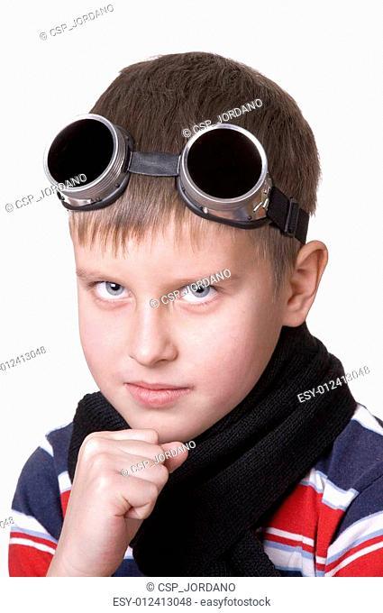 Small boy in dark glasses