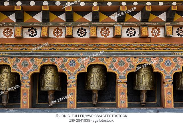 Prayer wheels at the Talo Monastery, Talo, Bhutan