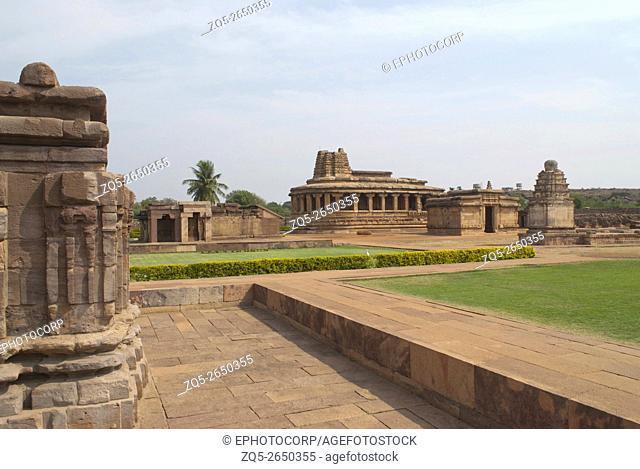 Galaganatha Group of temples, Aihole, Bagalkot, Karnataka, India. View from Suryanarayana temple. From left - Kutira, Durga Temple, and small Shiva temple