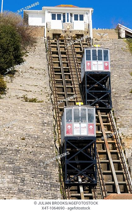 The funicular railway joining the Bournemouth Promenade with the cliff top at Westcliff