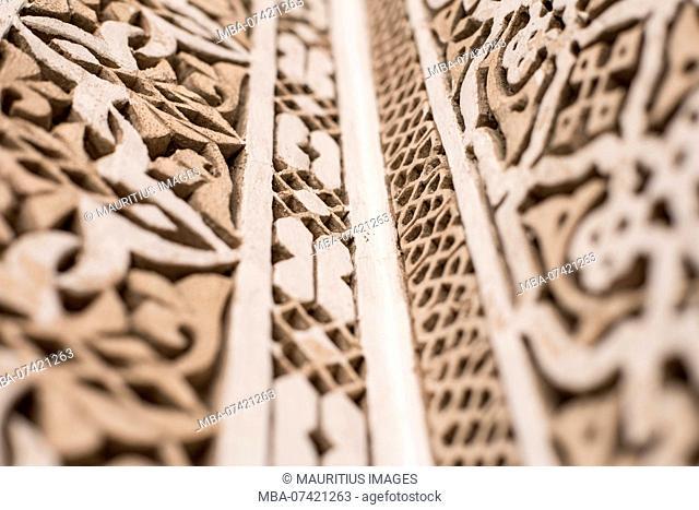 Architectural detail in the Marrakech Museum, Ben Youssef, Marrakech-Médina 40000, Morocco