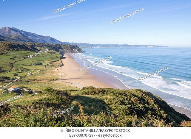 Landscape high shot view of beach named La Vega and Cantabrian Sea, with blue sky, in Ribadesella, Asturias, Spain, Europe