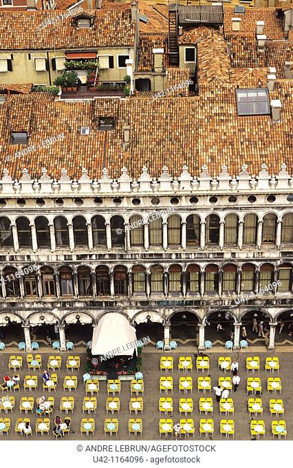 Looking down on cafe scene in St  Mark's Square in Venice Italy