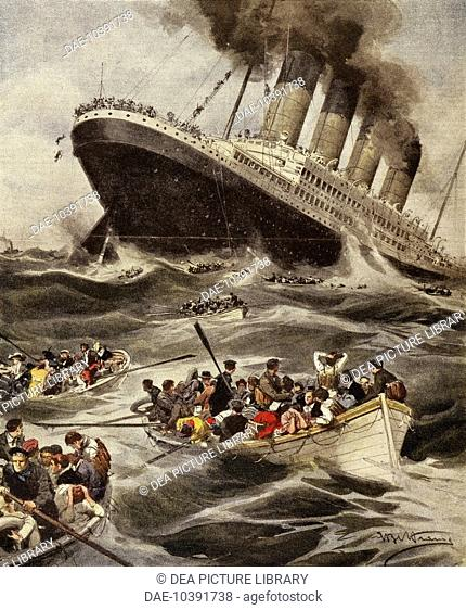 Battle of the Atlantic, sinking of the Lusitania, illustration from La Domenica del Corriere, June 7, 1915. World War I, Ireland, 20th century