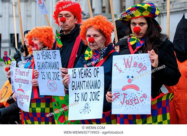 The London Guantánamo Campaign and human rights activists marks the 15th anniversary of the opening of the Guantánamo Bay detention camp with a 'Sad Clown...