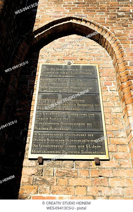 Germany, Berlin, Franciscan Church, Tablet with inscription, low angle view