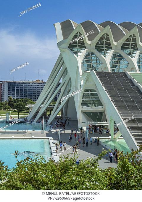 Northern entrance to the Science Museum (Museu de les Ciències) designed by architect Santiago Calatrava in the City of Arts and Sciences complex, Valencia