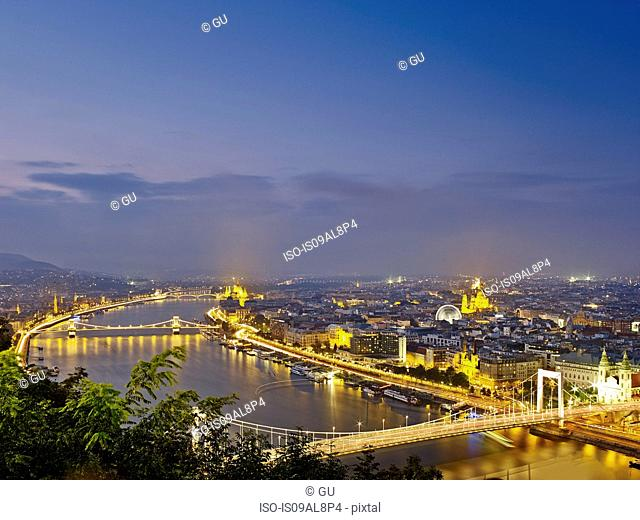 Skyline of Budapest from Gellert Hill by night, Hungary