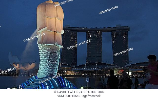 The MerLion statue and fountain near the Marina Bay Sands in Singapore