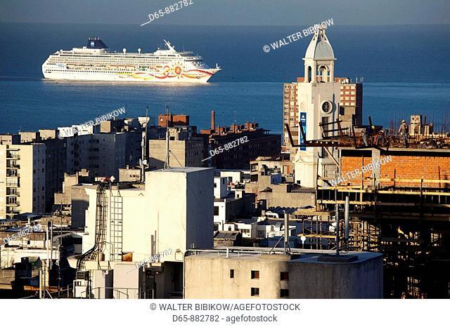 Cruiseship entering Port of Montevideo, Montevideo, Uruguay