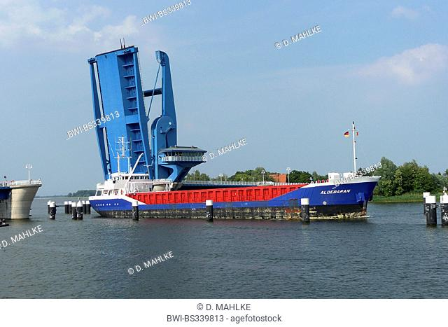 bascule bridge of Wolgast and cargo ship, Germany, Mecklenburg-Western Pomerania, Peenestrom, Wolgast