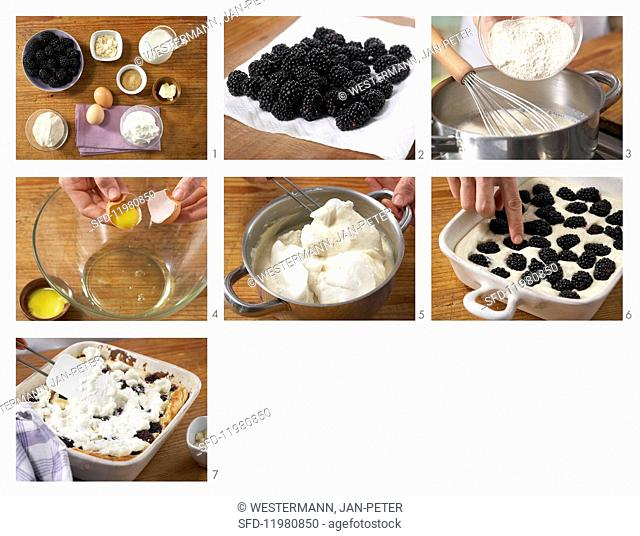 Blackberry and semolina pudding with flaked almonds being made