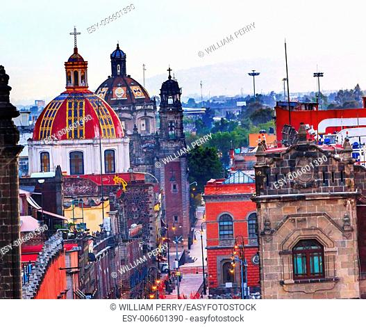 Zocalo Chruches Painted Domes Steeples Streets, Center of Mexico City Mexic