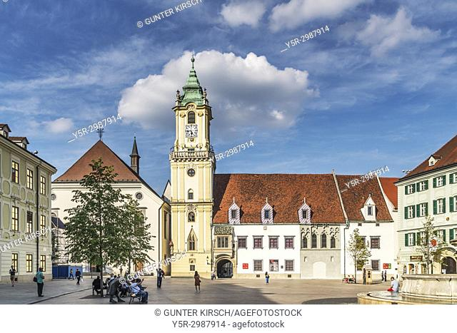 The old town hall is one of the oldest buildings of the city built of stone. It is located at the Main Square in the old town of Bratislava, Slovakia, Europe