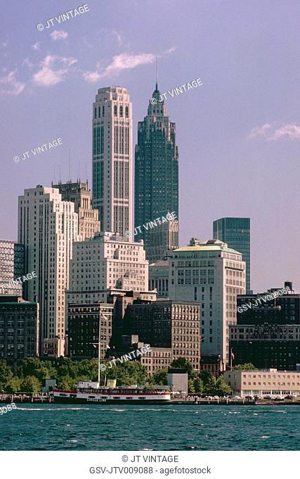 Skyline, Financial District, Manhattan, New York City, New York, USA, August 1961