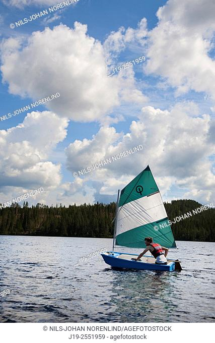 Summer cottage holiday brothers, Jämtland, Sweden brothers boat ride, sailing