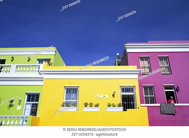 Colourful buildings houses in Bo-Kaap, Malay Quarter, Cape Town, Western Cape, South Africa