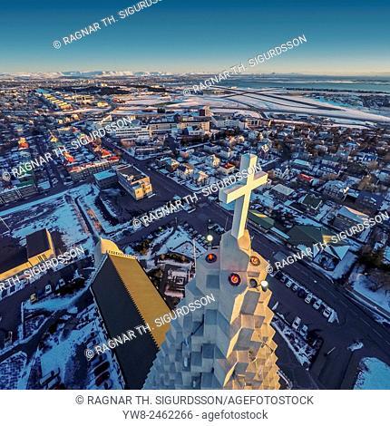 Hallgrimskirkja Church and Reykjavik, image produced using a drone, Reykjavik, Iceland
