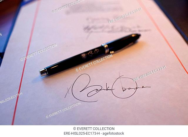 President Obama's signature on a bill and a pen used for the signing. Feb. 17 2009., Photo by: Everett Collection(BSLOC-2011-7-220)