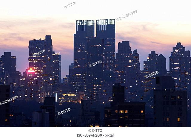 Silhouetted cityscape, New York City, USA