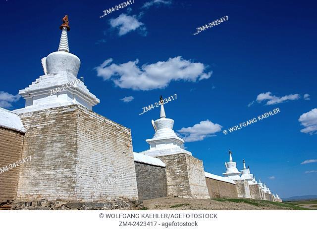 View of wall with stupas surrounding the Erdene Zuu monastery in Kharakhorum, Mongolia, MongoliaÂ's largest monastery, (UNESCO World Heritage Site)