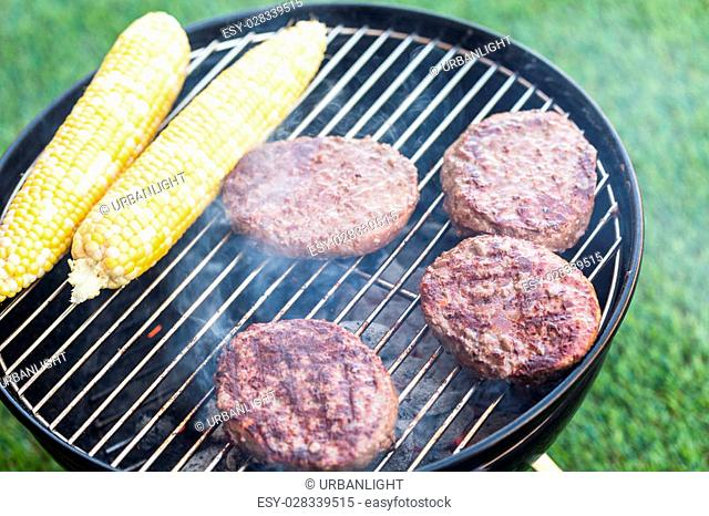 Small summer picnic with lemonade and hamburgers in the park