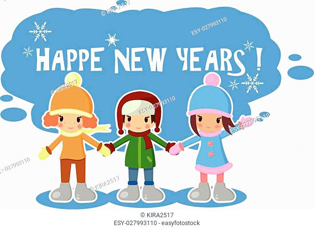 children of winter set in vector format greeting the new yeargreat printpostcard