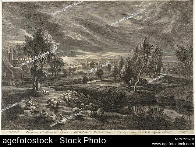 Landscape with Sheep, from The Small Landscapes - c. 1638 - Schelte Adamsz. Bolswert (Dutch, active in Flanders, c. 1586–1659) after Peter Paul Rubens (Flemish