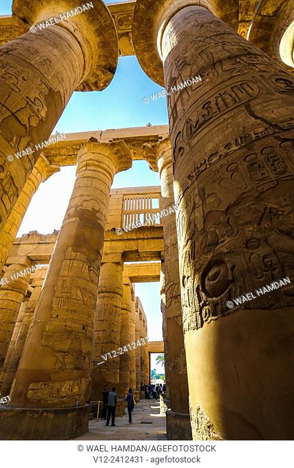 Karnak - Hypostyle Hall in Amun-Re Temple, complex of temples at Karnak, Luxor, Upper Egypt