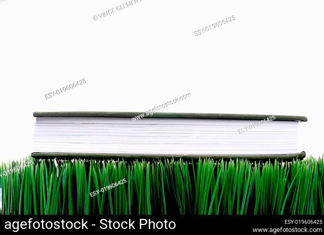 Green hardcover book sitting on grass with a white background