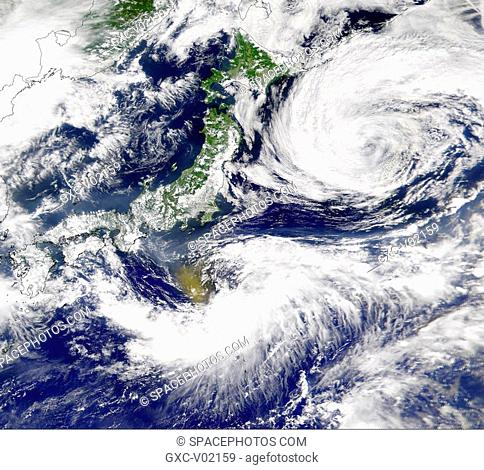 A vast brown cloud over the Pacific near Japan. This is possibly a cloud erupted from Mount Oyama on Miyakejima island, Japan