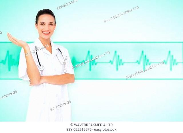 Composite image of pretty nurse presenting