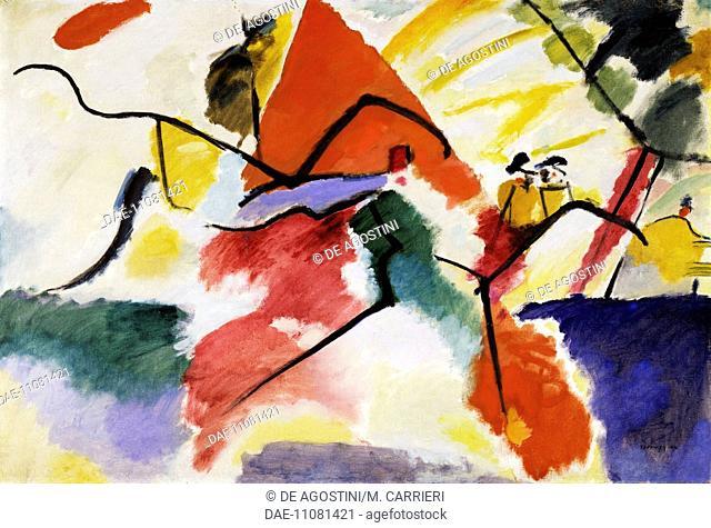 Impression V (Park), 1911, by Vassily Kandinsky (1866-1944), oil on canvas, 106x157 cm. Russia, 20th century.  Paris, Musée National D'Art Moderne (Centre...